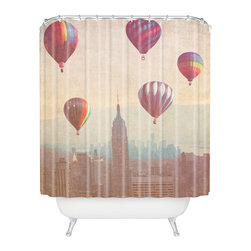 DENY Designs - Maybe Sparrow Photography Balloons Over Midtown Shower Curtain - Who says bathrooms can't be fun? To get the most bang for your buck, start with an artistic, inventive shower curtain. We've got endless options that will really make your bathroom pop. Heck, your guests may start spending a little extra time in there because of it!