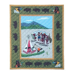 Patch Magic - Indian Dancers Throw - 50 in. W x 60 in. L. 100% Cotton. Handmade, hand quilted. Machine washable. Line or flat dry only