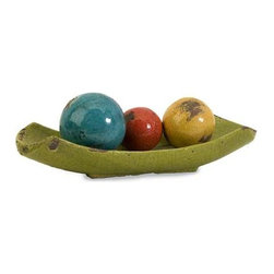 Mercade Decorative Ceramic Balls in Tray - Set of 4 - A vibrant multicolored arrangement of 3 decorative balls displayed in a lime green tray.