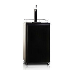 Midea - 4.9 Cubic-Foot Refrigerator Black - Unique beer dispenser Concealed door handle Chrome tower dispenser Ideal beer temperature High cooling efficiency Convertible for refrigerator application Glass door