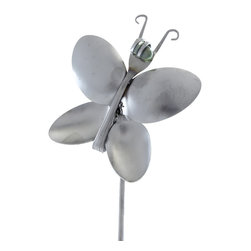 Forked Up Art - Butterfly - Fork and Spoon Garden Stake - A great display for the garden!