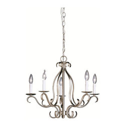 Kichler 5-Light Chandelier - Brushed Nickel - Five Light Chandelier. The Portsmouth collection takes classic design and offers a unique and modern twist designed to fit contemporary homes. Characterized by its long, sweeping arms, Portsmouth fixtures offer a clean look while remaining fresh and exciting. With our brushed nickel finish over its hand-wrought steel frame, you can be sure of a high quality fit and finish that is second to none. This 5 light chandelier provides high style for any large room. It uses 60-watt bulbs and measures 18 high with a 21 diameter.