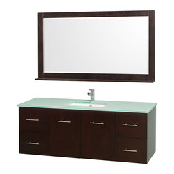 Wyndham - Centra Vanity Single 60in. in Espresso w/ Green Glass Top & Square sink - Simplicity and elegance combine in the perfect lines of the Centra vanity by the Wyndham Collection. If cutting-edge contemporary design is your style then the Centra vanity is for you - modern, chic and built to last a lifetime. Available with green glass, white carrera marble or pure white man-made stone counters, and featuring soft close door hinges and drawer glides, you'll never hear a noisy door again! The Centra comes with porcelain, marble or granite sinks and matching mirrors. Meticulously finished with brushed chrome hardware, the attention to detail on this beautiful vanity is second to none.