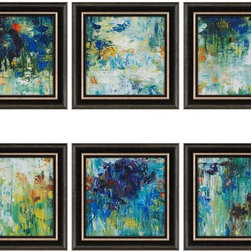 Paragon Decor - Falling Waters Set of 6 Artwork - Saturated shades of blue immerse into serenity.