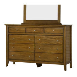 Modus Furniture - Modus City II Nine-Drawer Dresser with Beveled Glass Mirror in Pecan - The City II collection delivers the same modern chic styling as its older sibling but at a more affordable price. The group is constructed with tropical hardwoods and veneers finished in a deep Coco tone and features a padded faux leather headboard. City II is manufactured with all the same construction features that are expected of a Modus Furniture product, including sanded and stained Solid wood drawer boxes with English dovetail front and back, Full extension ball bearing drawer glides, felt lined top drawers on select pieces, and discrete metal-to-metal bed rail fittings for easy assembly and long term durability.