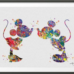 KidsPlayHome - Micky And Minnie Wall Art - Playroom Art Print