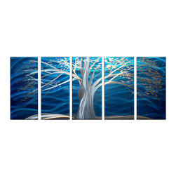 Matthew's Art Gallery - Metal Wall Art Modern Sculpture White Tree on Blue - Name: White Tree on Blue