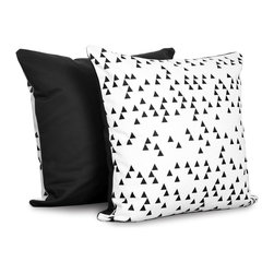 OLLI+LIME - Triangle Pillow - Heavyweight cotton pillow in black and white triangle design. Contrasting reverse, piping and zipper. Includes down alternative insert.