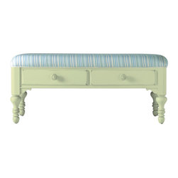 Stanley-Coastal Living - Bed End Bench - When a settee is too much and a stool is not enough, the Bed End Bench from Stanley is just the ticket! This cheery, double-drawer bench is perfect for use at the foot of a bed, in an entry way, or in a living room under a window. Beautifully upholstered in a sea of blues and greens, this heavily padded seat makes easy work of lacing sneakers. Highlighted in a gentle sea grass finish, with delicate carvings and turned tapered legs, this versatile piece can easily migrate from room to room.