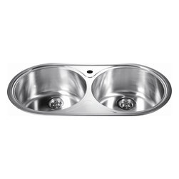 Dawn Kitchen & Bath - Dawn  CH333 35 inch Round Equal Double Bowl Topmount 20 Gauge Stainless Steel Ki - Round Equal Double Bowl Sink
