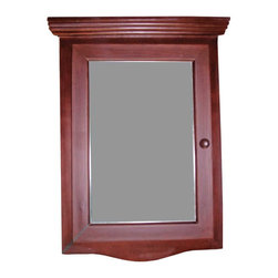 Renovators Supply - Wood Medicine Cabinet Cherry Finish Hardwood, Wood Medicine Cabinet Cherry Stain - Corner Medicine Cabinet with Mirror.  This beautiful corner hardwood medicine cabinet has a cherry stain finish. Space-saving design conveniently maximizes bathroom space. It comes with a front mirror and kob located on the right side. Opens from the right side towards the left side. The interior is white and easily wipes clean, and has one shelf. Easy to install flush to the wall (not recessed) and comes with mounting screws. NOTE: this item is in product, therefore the finish shown may vary from the actual product. Overall measures with decorative molding 27 1/8 in. H x 20 1/8 in. W x 10 1/4 in. proj.