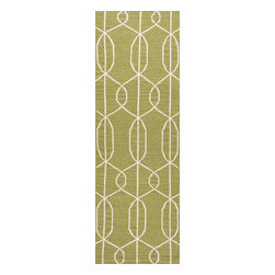 Jaipur Rugs - Flat Weave Geometric Pattern Green Wool Handmade Rug - MR18, 2.6x8 - An array of simple flat weave designs in 100% wool - from simple modern geometrics to stripes and Ikats. Colors look modern and fresh and very contemporary.