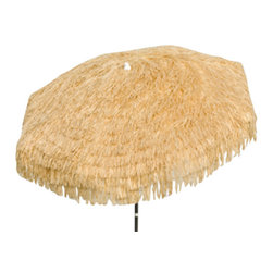 DestinationGear - Palapa Tiki Umbrella 6 ft, Natural, Patio - Turn up the Island sounds and get out of the sun with this high quality, well-appointed product from DestinationGear. A strong a sturdy aluminum frame provides the mechanical advantage of the umbrella.  A 6 foot diameter span with 3-position tilt provides lots of shade to help keep the drinks cool on a sunny day in your yard, around the pool or at the beach. The staggered polypropylene material is UV resistant and holds its color for years.
