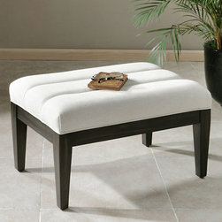 Berlynn Ottoman - It would be well placed amidst the appointments of a Hollywood Hills bungalow where the glitterati gather, a sleek SoHo loft, or a metropolitan pied-�-terre; such is the versatility of the Berlynn Ottoman, a complement to the Berlynn Armless Chair. The durable white linen blend offers dramatic contrast to the exposed wood frame with rubbed ebony finish.