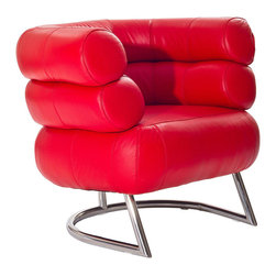 Tubular Armchair in Red - Refreshingly different, this gorgeous armchair hugs you in comfort. With its tubular-steel strength, plush red cushions, and leather upholstery, you have a retro-inspired armchair that's as unique as it is functional.