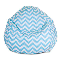 Majestic Home - Indoor Tiffany Blue Chevron Small Bean Bag - Beanbag update alert! The staple of the hippie pad gets a stylish new look, ideal for your favorite casual setting. It's bound to become the best seat in the house, but no worries —the slip zips off for easy machine washing.