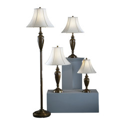 """Signature Design by Ashley - 59"""" Caron Set of 4 Copper Finished Metal - A set of four: This antique brass finished metal lamp set features 1 accent lamp, 2 table lamps and 1 floor lamp with beige fabric bell shades. Beige shades become more creamy/yellow when illuminated."""