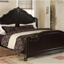 Elements Fine Home Furnishing Inc. - Harrison Panel Bed - Merlot Multicolor - ELET295 - Shop for Beds from Hayneedle.com! Luxurious wood craftsmanship lives on in the Harrison Panel Bed Merlot an elegant traditional bed with carved scrollwork and acanthus leaf details on its head and footboards. Built from genuine alder wood and cherry veneers this hardwood bed is given a semi-gloss merlot finish embellished with gold tipping. It comes in your choice of standard queen or king and is backed by a one-year limited manufacturer s warranty.About Elements Fine Home Furnishings Inc.Committed to bringing excellent home furnishings to the masses through affordable prices Elements marries exceptional design and exemplary craftsmanship to create affordable functional pieces. High-end materials and technique are supported by a six-point quality control inspection to ensure consistent reliability.Featuring collections tailored for the sophisticated yet casual customer their approach to design is focused on comfort strength and elegance. Elements uses only top grain aniline leather meaning only the most durable and best quality hides are utilized. Aniline leathers are those treated by a transparent dye through all its layers. The resulting finish is translucent letting all the natural imperfections shine through. A firm reliance on solid wood grain allows Elements Fine Home Furnishings Inc. to build products that will outlast several years of everyday use. Traditional styling details coupled with contemporary design helps Elements stand apart from the rest.