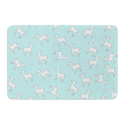 "KESS InHouse - Monika Strigel ""Baby Llama Multi"" Blue White Memory Foam Bath Mat (24"" x 36"") - These super absorbent bath mats will add comfort and style to your bathroom. These memory foam mats will feel like you are in a spa every time you step out of the shower. Available in two sizes, 17"" x 24"" and 24"" x 36"", with a .5"" thickness and non skid backing, these will fit every style of bathroom. Add comfort like never before in front of your vanity, sink, bathtub, shower or even laundry room. Machine wash cold, gentle cycle, tumble dry low or lay flat to dry. Printed on single side."