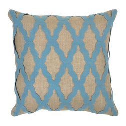 Villa Home - Intrigue Blue Pillow - A modern twist infused with an all natural design style, our Intrigue Blue Pillows perfect the look of symmetry.  Made from all natural fabric the stylish applique, with its geometric pattern offers striking dimensional depth.