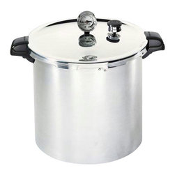 Presto - Aluminum Pressure Canner 23 Qt. - Presto 23 Qt. Pressure Canner. Pressure canning is the only method recommended safe by the U.S.D.A. for low-acid foods such as vegetables, meats and fish.  The easy-to-read gauge automatically registers a complete range of processing pressures.  Air vent/cover lock allows pressure to build up only when the cover is closed properly and prevents the cover from opening until pressure is safely reduced.  This Presto Pressure Canner also doubles as water bath canners for preserving fruits, jams, jellies, pickles and salsas.  Mason Jar Capacity: 24 Half-Pints. 20 Pints.  7 qt.- 23 qt. liquid capacity (21.8 liters).  Constructed of extra-strong, warp-resistant aluminum and suitable for use on regular and smooth-top ranges.  Includes cooking/canning rack and complete instruction and recipe book.