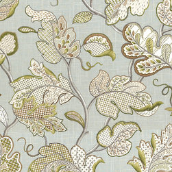 "Ballard Designs - Felicity Spa Fabric by the Yard - Content: 55% Linen 45% Rayon. Repeat: Non-railroaded fabric with 27"" repeat. Care: Dry clean. Width: 54"" wide. Big updated Jacobean floral in spa, white & spring greens printed on soft linen blend.  .  . .  . Because fabrics are available in whole-yard increments only, please round your yardage up to the next whole number if your project calls for fractions of a yard. To order fabric for Ballard Customer's-Own-Material (COM) items, please refer to the order instructions provided for each product.Ballard offers free fabric swatches: $5.95 Shipping and Processing, ten swatch maximum. Sorry, cut fabric is non-returnable."