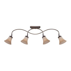 Quoizel - Quoizel 4-Light Aliza Ceiling Track Light Palladian Bronze - ALZ1404PN - Aliza is elegant and stylish a beautiful collection for todays home. Featuring sleek oval tubing and a versatile Palladian bronze finish, this collection compliments any decor with trumpeted fluted glass in a soft gradient amber mist.