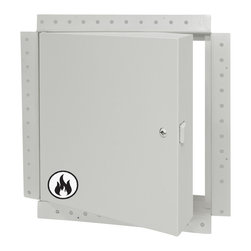 """Best Access Doors - 8"""" x 8"""" Fire Rated Insulated Access Door with Flange for Drywall - 8"""" x 8"""" Fire Rated Insulated Access Door with Flange for Drywall   The BA-FW-5050-DW drywall, insulated fire rated access door is an enhanced BA-FW-5050 that includes a galvanized steel drywall taping bead flange to facilitate installation in drywall. The Acudor FW-5050 is an insulated, fire rated access door approved for use in walls and ceilings. For walls, this door has an Underwriters Laboratories (UL and ULC), 1-1/2 hour """"B"""" label, with a maximum temperature rise of 250 degrees after 30 minutes. This door should be used in walls when temperature rise or heat transmission is a factor. For fire rated ceilings, this door has been approved by Warnock Hersey International for 3 hours (max. size to 24"""" x 36"""")   In-Stock and Ready to Ship !      -  Application- For drywall, walls and ceilings with galvanized steel drywall taping bead flange. For when temperature rise or heat transmission is a factor. Product Features- Insulated door panel - Concealed hinge - Self-Latching - Inside latch release- Drywall taping bead flange - Self-closing FW-5050 Access Door Specifications:- Door / Door Frame: Steel or Stainless Steel: 20 gage door,16 gage mounting frame Door filled with 2"""" thick fire rated insulation, flange to be drywall taping bead flange Hinge: Concealed- Fire Rating (Walls): UL � 1-1/2 hour """"B"""" label. ULC � 2 hour """"B"""" label. Max size: 36 x 48. (Ceilings): Warnock Hersey International 3 hour rated in a non-combustible ceiling. 1 hour rated in a combustible ceiling. Max size: 24 x 36 - Standard Latch: Universal self-latching bolt, operated by either a knurled knob or flush key. When master keying is required, doors can be prepared for mortise cylinder locks.- Finish: Steel: 5 stage iron phosphate preparation with prime coat of white baked-on enamel."""