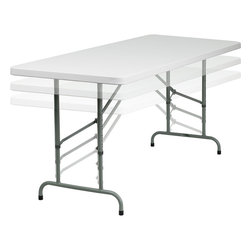 Flash Furniture - Flash Furniture 30 x 72 Height Adjustable Granite White Plastic Folding Table - Commercial grade folding table that is designed to withstand the test of time! Flash Furniture's 30''W x 72''L height adjustable folding table features a durable stain resistant blow molded top and sturdy frame. The blow molded top is super low maintenance and cleans easily. This 6 ft. table locks in place in a snap with the leg locking system for easy set-ups. The adjustable height legs allow this table to be adjusted for comfortable sitting. This table can be used as a temporary seating solution or set-up in a permanent location for everyday use. [RB-3072ADJ-GG]