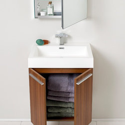 "Fresca - Fresca Alto 23"" Modern Single Sink Vanity Set w/ Medicine Cabinet - Very handsome in its simplicity, this is a vanity that will move in, not stretch out and take up space, but will instead easily consolidate everything into two pieces. Life will be a less messy affair with this vanity installed. A wonderfully quietly designed piece, will invite everyone to come in and put outside troubles at the doorstep. Complete with a medicine cabinet that can be either wall mounted or recessed into the wall. Many faucet styles to choose from. Optional side cabinets are available."
