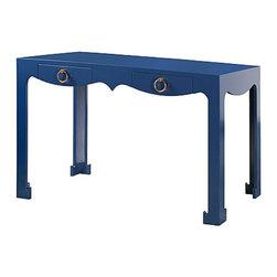 Bungalow 5 - Jacqui Console / Desk | Blue by Bungalow 5 - JACQUI CONSOLE/DESK NAVY BLUE: LACQUER FINISH: GOLD RING PULLS