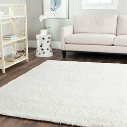 Safavieh - Shag Shag 8'x10' Rectangle White Area Rug - The Shag area rug Collection offers an affordable assortment of Shag stylings. Shag features a blend of natural White color. Hand Tufted of Acrylic the Shag Collection is an intriguing compliment to any decor.