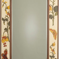 Botanical Garden Mirror - Pretty as a painting, I love the florals and garden motif depicted on the frame of this beautiful mirror.  This mirror would be lovely used in a dressing area, above a vanity or above a chest in a little girls bedroom.