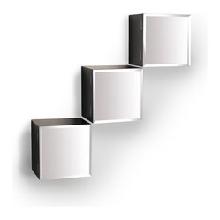 Danya B. - Cube Shelves with Mirror Doors, Set of 3 - Give your walls a big dose of glam with this set of three medicine cabinet-like cube shelves. The outside of each box is finished in dark espresso and features a beveled mirror door that keeps your trinkets out of sight. You can hang them in any configuration with the hardware included.