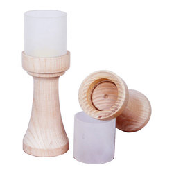ParrotUncle - Traditional Torch Shaped Ash Wood Candle Holder with Glass Diffuser Set of 2 - Add a rustic and natural feel with this inviting table lamp, which resembles a candle holder. The unique design of a solid wooden base and a frosted glass shade creates a simple yet stylish look. It gives off a warm and pleasing glow, perfect for bedroom, living room or dinning room to complete your rustic home decor.