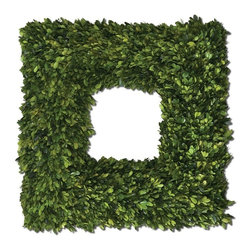 Uttermost Square Wreath Preserved Boxwood - Preserved while freshly picked, natural evergreen foliage looks and feels like living boxwood. Preserved while freshly picked, natural evergreen foliage looks and feels like living boxwood.