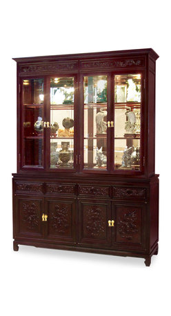 China Furniture and Arts - 60in Rosewood Imperial Dragon Design China Cabinet - A grand curio cabinet to display your treasured collectibles. Hand-carved relief Chinese prosperity dragon motif decorated the entire cabinet. Made of solid rosewood with traditional joinery techniques by artisans in China. Mirror, halogen lights, and adjustable shelves for the upper cabinet. Two big cabinets with removable shelves inside and four drawers in the lower portion providing ample storage space for your convenience. Splendid with imperial grandeur. Hand applied classic cherry finish enhances the extraordinary beauty and opulence of solid rosewood.