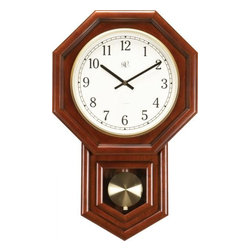 RIVER CITY CLOCKS - Radio Controlled Schoolhouse Cherry Wall Clock - This regulator wall clock features: