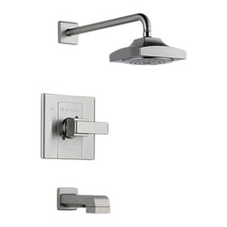 Delta - Delta T14486-SS Arzo Monitor 14 Series Tub and Shower Trim (Stainless) - With its square, modern style and eloquent functionality, the Arzo collection makes a unrivaled and bright addition to any bathroom.