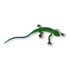 Green and Blue Metal Lizard Statue Decoration - A lounging lizard catches no crickets, and this lizard would look fantastic lounging on a table, a shelf or a desk! No need for crickets with this lizard as it is crafted of metal. This lizard is hand painted in a striking emerald green grading into a lovely teal blue on its back and tail, and lightens to yellow on its belly. Its eyes and feet are black with shiny gold toes. It measures 17 inches long, 8 inches wide and 2.5 inches high. Would make a great gift for any lizard lover!