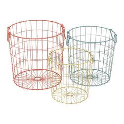 Colorful Alluring Metal Basket, Set of 3 - Description:
