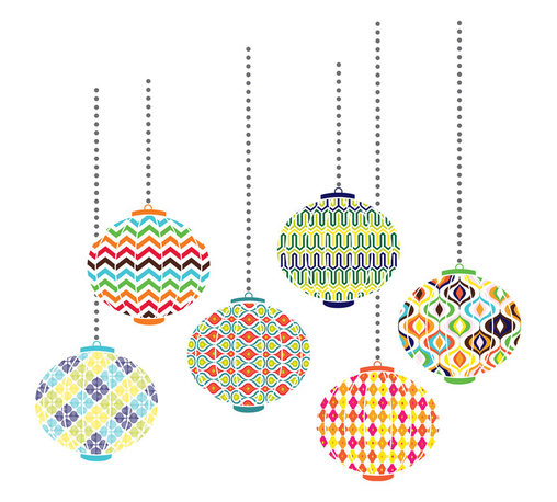 """WallPops - Lanterns Wall Art Decal Kit - Wherever the eye wanders it should have an objet d'art! Fill a whole wall with a patterned lanterns and sassy studded embellishments.  This kit comes on two 17.25"""" x 39"""" sheets, Two additional 17"""" x 6.5"""" sheets featuring silver decorative studs are included as well and as always WallPops are repositionable and totally removable."""