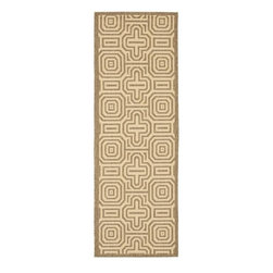 Safavieh - Brown/ Natural Indoor Outdoor Rug (2'4 x 6'7) - This natural indoor/outdoor rug goes well in just about any environment. Create a comfortable lounge area outside or warm up the kitchen for bare feet, as this rug will stand up to lots of foot traffic. Its resistant to mold and easy to keep clean.