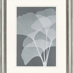 """Paragon Decor - Gingkos I Artwork - Liven up those boring walls with this incredible piece, """"Ginkos I"""" which depicts an elegant silhouette of the detailed veins of a Gingkos bloom on a soiled gray background. This piece captures the true essence of the plant, playing with translucence and contrast to create depth. This piece measures surrounded by an off-white matte and a silver bevel-edged frame. This set can be displayed alone, but looks best with its sister piece, """"Ginkos II."""" This piece measures 32 inches wide, 2 inches deep, and 41 inches high."""