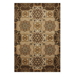 Mohawk Home - Mohawk Cachet Safi Tiles Sandstorm Transitional 8' x 10' Rug (9166) - Hues of rust and gold combine within this intricate design to create a rug that timeless and stunning. Unsurpassed in quality and style without sacrificing affordability, Mohawk Home