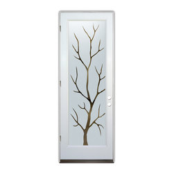 Sans Soucie Art Glass (door frame material Plastpro) - Glass Front Entry Door Sans Soucie Art Glass Branch Out - Sans Soucie Art Glass Front Door with Sandblast Etched Glass Design. Get the privacy you need without blocking light, thru beautiful works of etched glass art by Sans Soucie!This glass is semi-private. Door material will be unfinished, ready for paint or stain.Bronze Sill, Sweep.Satin Nickel Hinges. Available in other finishes, sizes, swing directions and door materials.Dual Pane Tempered Safety Glass.Cleaning is the same as regular clear glass. Use glass cleaner and a soft cloth.