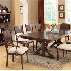 Furniture of America - Furniture of America New England Double Pedestal Dining Table - Brown Cherry - I - Shop for Dining Tables from Hayneedle.com! The Furniture of America New England Double Pedestal Dining Table - Brown Cherry brings a rustic touch to your home. Crafted of durable wood veneers this stylish dining table features a double pedestal base and a rectangular table top. Embellished with a brown cherry finish this table can seat up to six people comfortably with the help of its 18-inch leaf extension. A wonderful addition to your country themed home.About Furniture of AmericaFurniture of America has over 20 years experience in the furniture industry. They have facilities in California Georgia and New Jersey. Furniture of American strives to provide a comprehensive selection of home furniture at competitive prices. They feature a wide variety of bedroom collections youth furniture dining room sets upholstery living room furniture accents upholstery and more. Furniture of America offers more value for less always!
