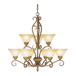 Livex Lighting - Livex Bistro 8279-57 Chandelier - Venetian Patina - 30W in. Multicolor - 8279-57 - Shop for Chandeliers from Hayneedle.com! Not only is the Livex Bistro 8279-57 Chandelier - Venetian Patina - 30W in. sure to be the highlight of your foyer living space or formal dining area it is also sure to fetch you plenty of compliments on your discerning taste. Accented with elegant scrolls this handsome 2-tier chandelier reinvents classic design elements to create a piece of lighting that will work its magic equally well in both formal and casual settings. The warm Venetian patina finish plays up the appeal of the art glass shades while nine 60-watt medium base bulbs (not included) offer warm ambient light for working or relaxing by. This 30-inch fixture comes with 36 inches of chain and 120 inches of wire for installation.About Livex LightingLivex Lighting is a manufacturer and distributor of decorative residential lighting. The company was founded in 1993 and is now headquartered in a 150 000-square-foot facility in Morristown New Jersey. Livex Lighting currently offers over 2 500 products ranging from lighting fixtures for indoor and outdoor applications to lampshades chandelier shades ceiling medallions and accent furniture. The goal of Livex Lighting is to provide the highest-quality product at the most affordable price. We are constantly responding to the ever-changing needs styles and fashions of the lighting industry while always maintaining the highest standards of quality.