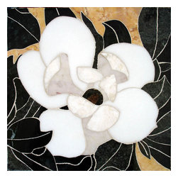 Handcrafted Marble Mural Magnolia 12X12 Backsplash - Made to order. Lead time 2-4 weeks. Proudly made in USA.