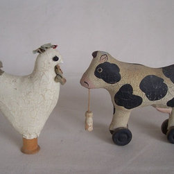 Antique Stuffed Animal Toys - ANTIQUE PAINTED CLOTH ANIMAL TOYS